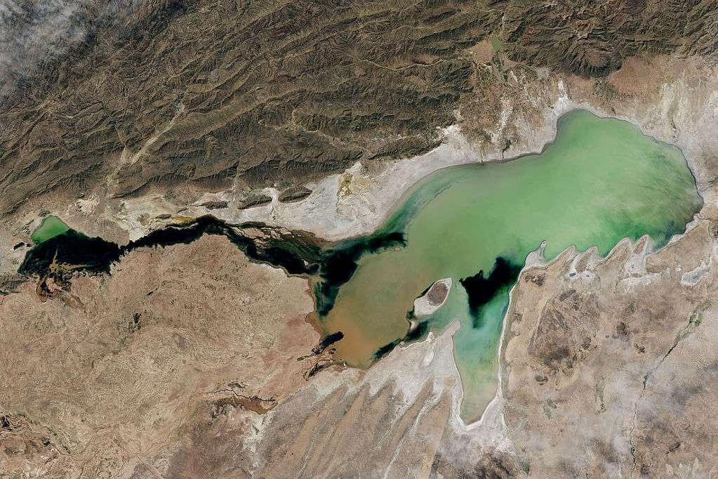 2013 satellite view of a green Lake Poopó