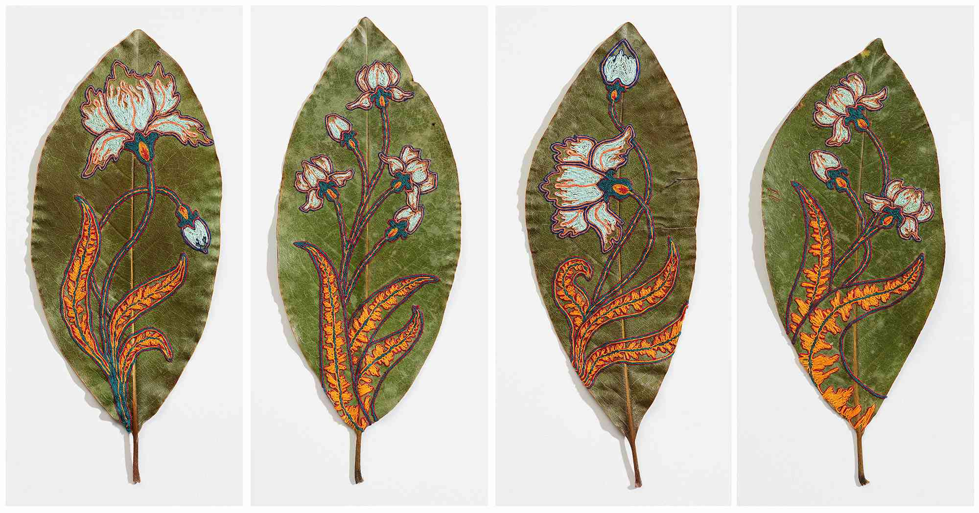 embroidered paper cut leaf artwork Hillary Waters Fayle