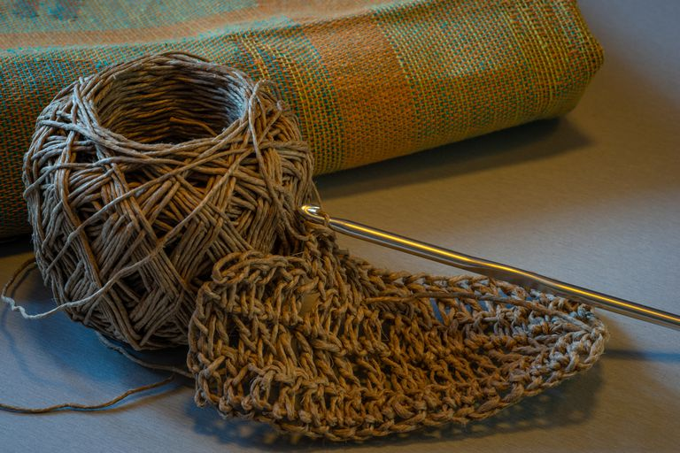 Homemade twine kitchen scrubber and crochet hook
