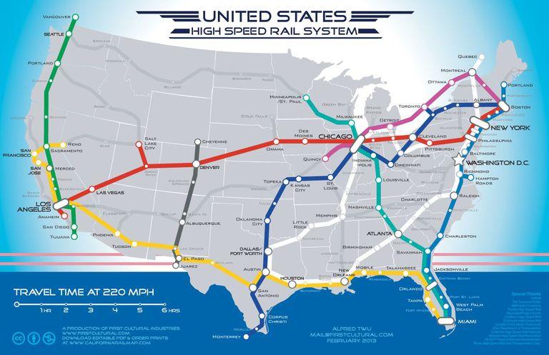El mapa muestra cómo podría verse el tren de alta velocidad en todo EE. UU.