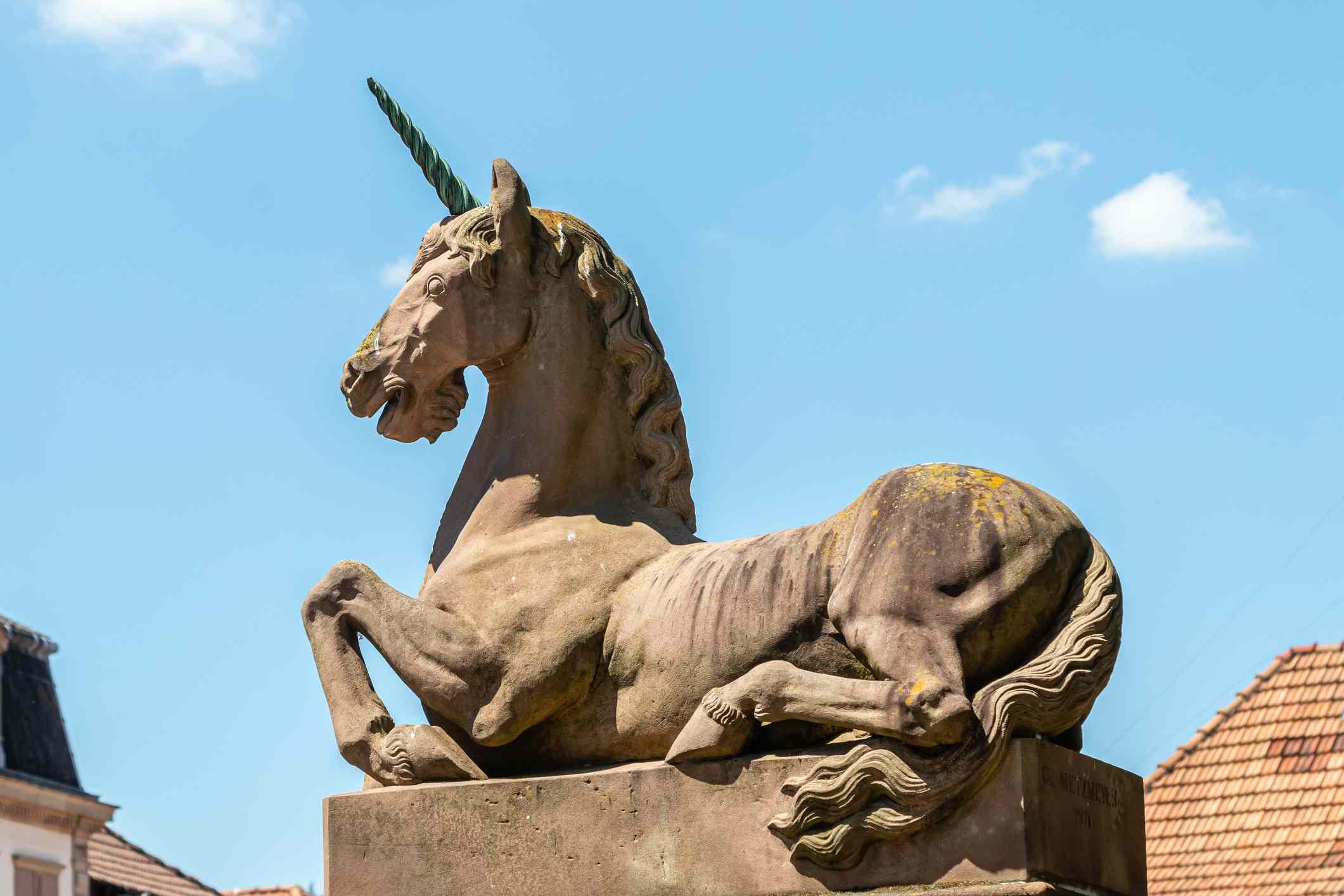 unicorn statue in Saverne, Alsace