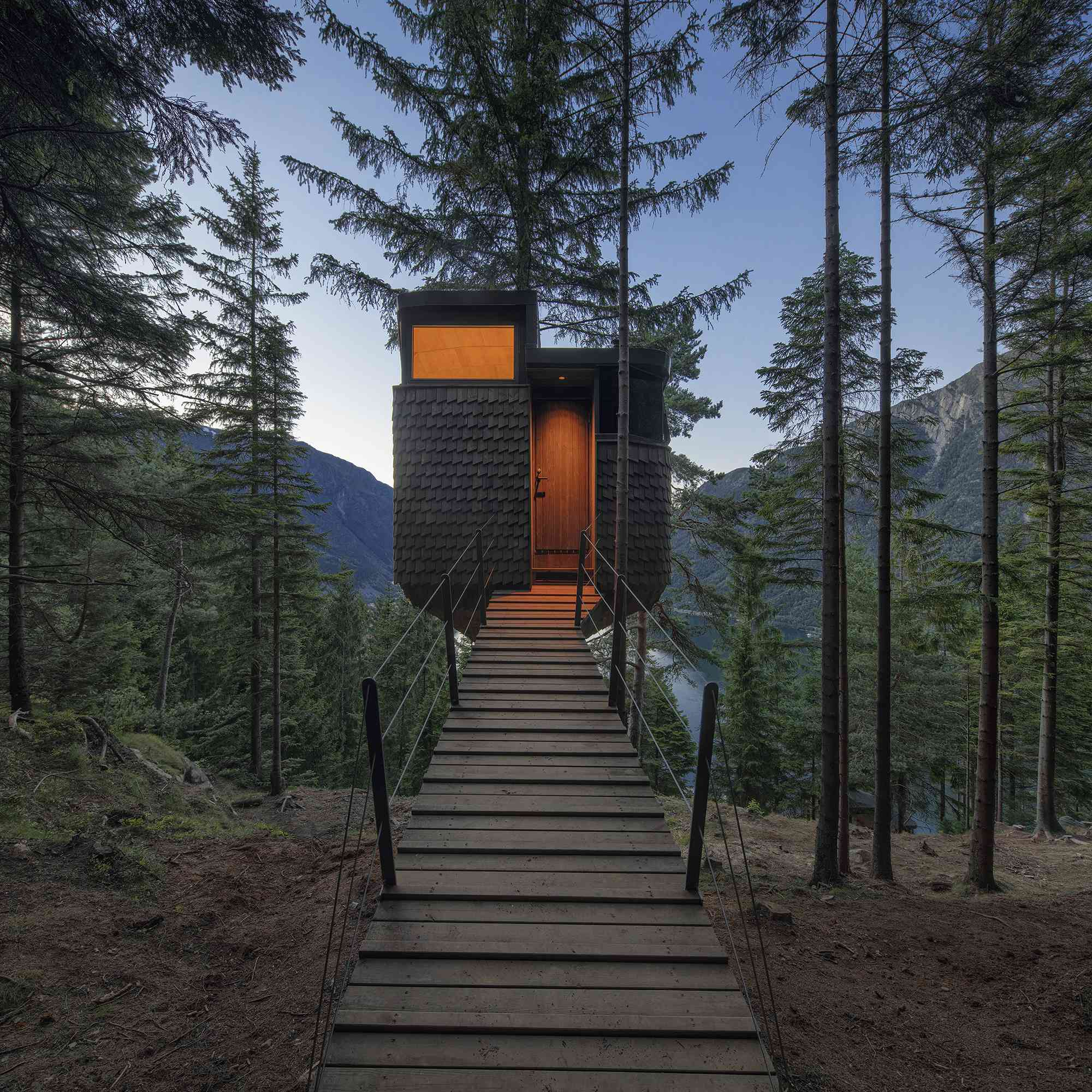 Woodnest treehouse cabin by Helen & Hard Architects view of entry bridge