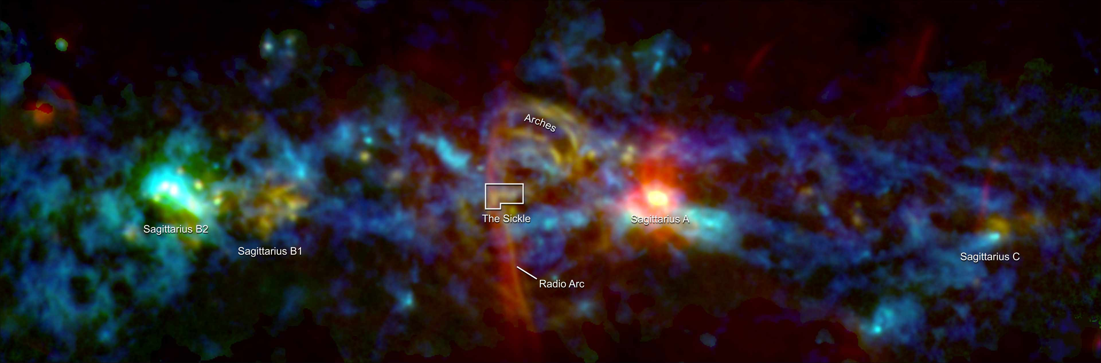 'cosmic candy cane' at center of the Milky Way galaxy