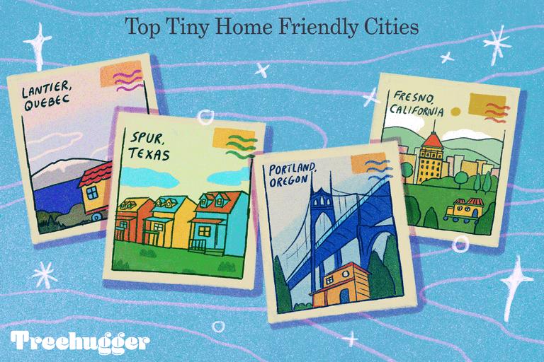 retro postcards portray city names of where to park a tiny house