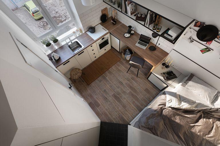 Odessa micro-apartment renovation Fateeva Design interior view from above