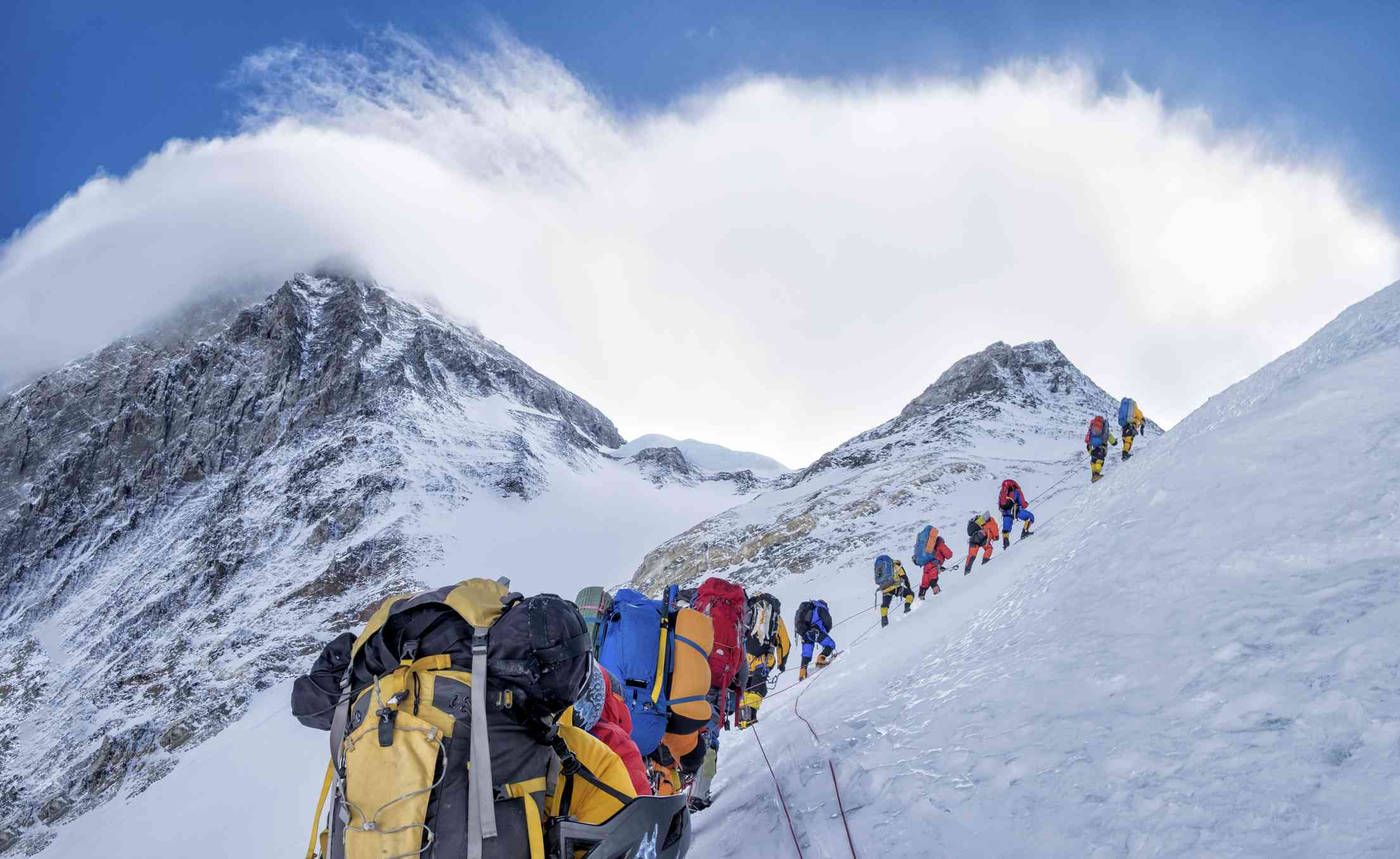 A roped team of climbers on Mount Everest