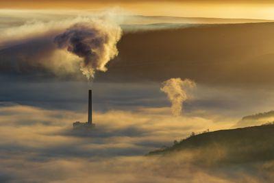 Pollution at sunrise, Castleton, Derbyshire, Peak District. UK
