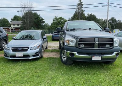 Pickup truck and our subaru