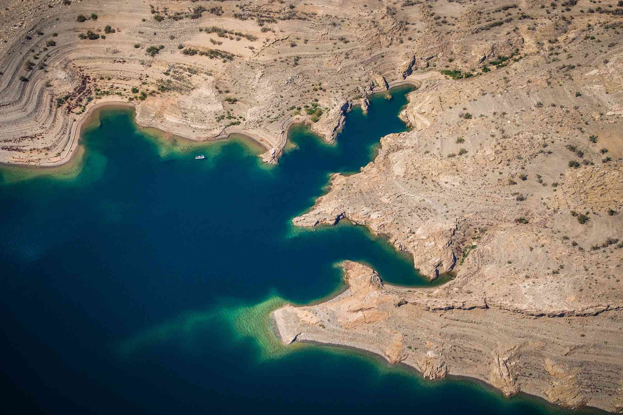 High-angle view of Lake Mead surrounded by desert