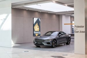The Polestar 1 in one of the company's salons, in San Jose, California.