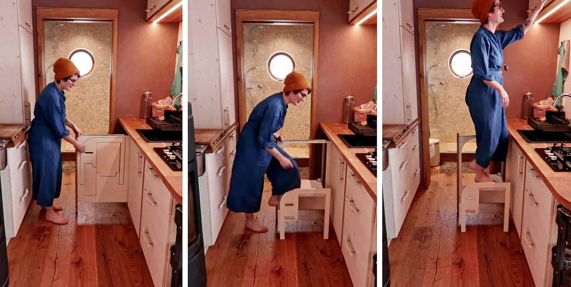 Hallo Holger tiny house fold out step stool