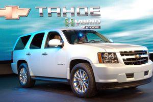 Tahoe Hybrid vehicle on display.