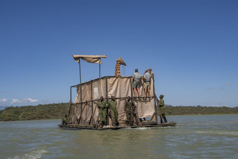 Rescue team members join Asiwa on the barge trip to the conservancy.