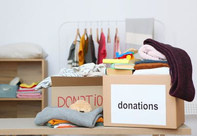 Boxes with donations