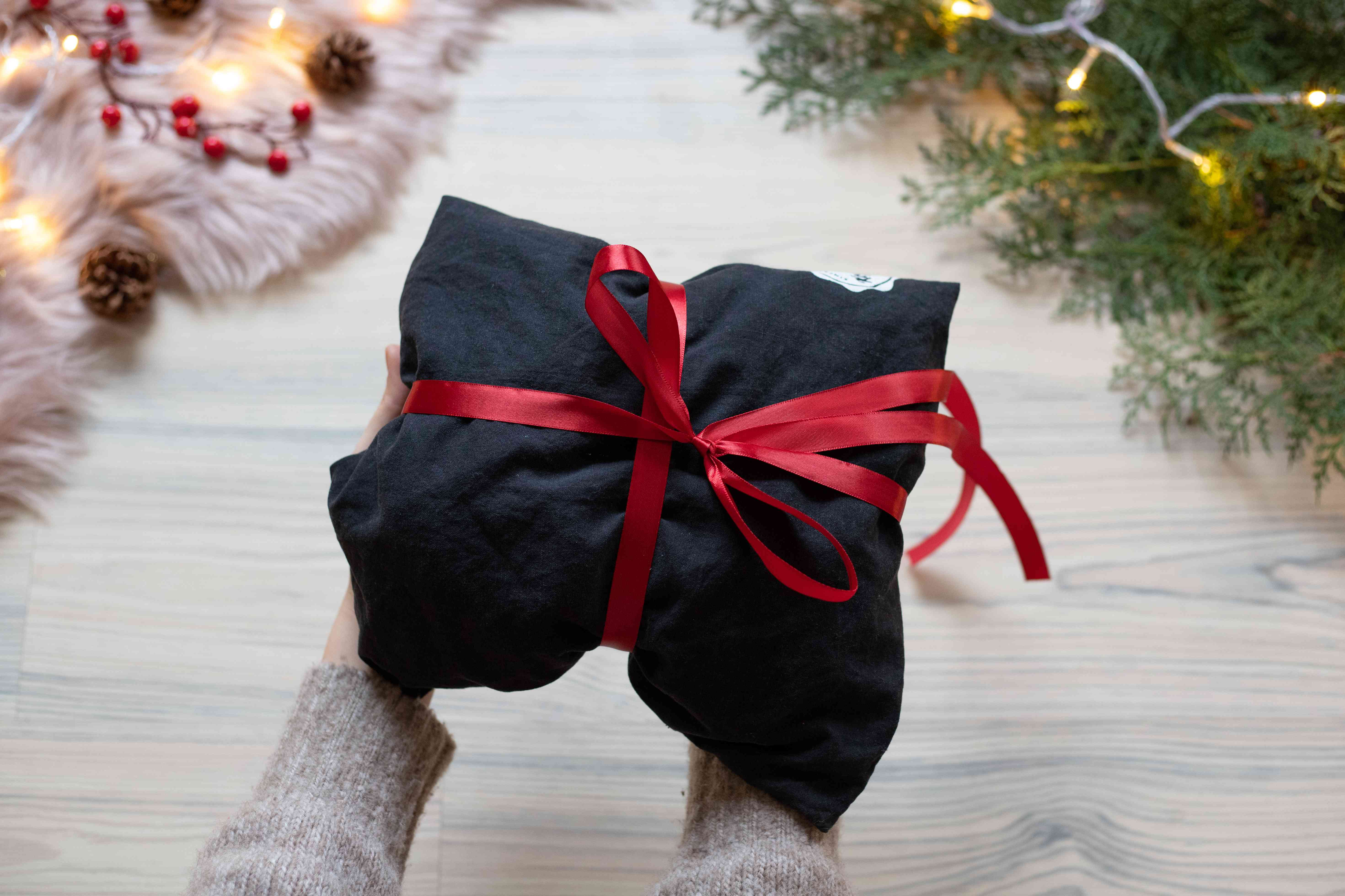 produce bag re-purposed as gift wrap for christmas present