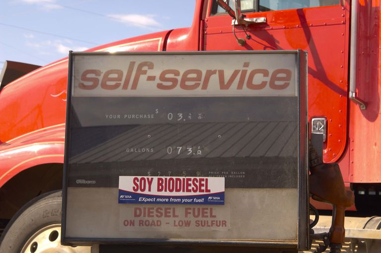 Self-service gas pump with soy biodiesel label on it and a truck in the background