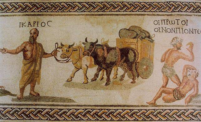 A mosaic depicts the transport of wine bottles