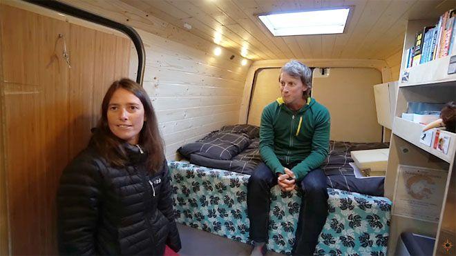 View of bed setup inside camper van