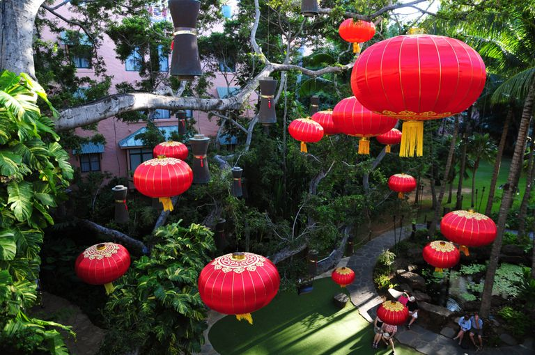 Traditionally, red lanterns, like these in Hawaii, are hung to mark the end of the Lunar New Year holiday.