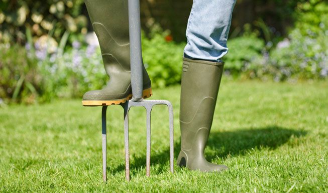 A person in gardening boots aerates a lawn