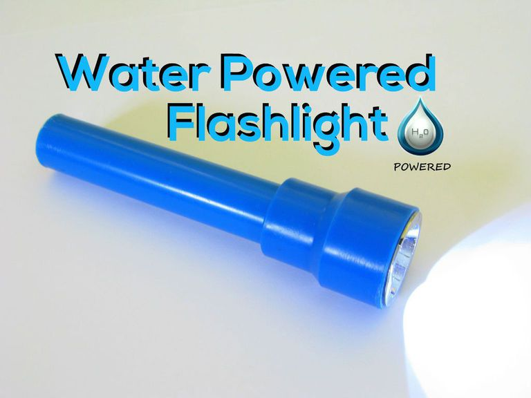 A water powered flashlight turned on