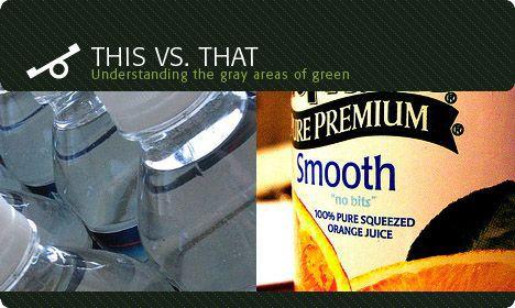 orange juice versus bottled water image