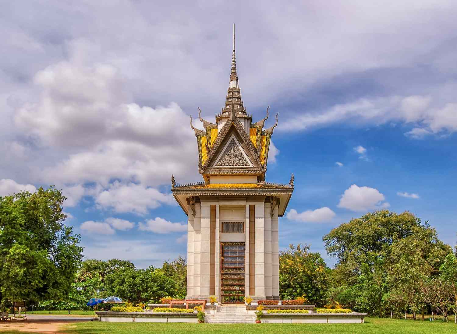 The stupa monument to the deceased at Choeung Ek in Cambodia