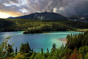 A turquoise lake surrounded by coniferous forests and a mountain on a cloudy day in Yoho National Park