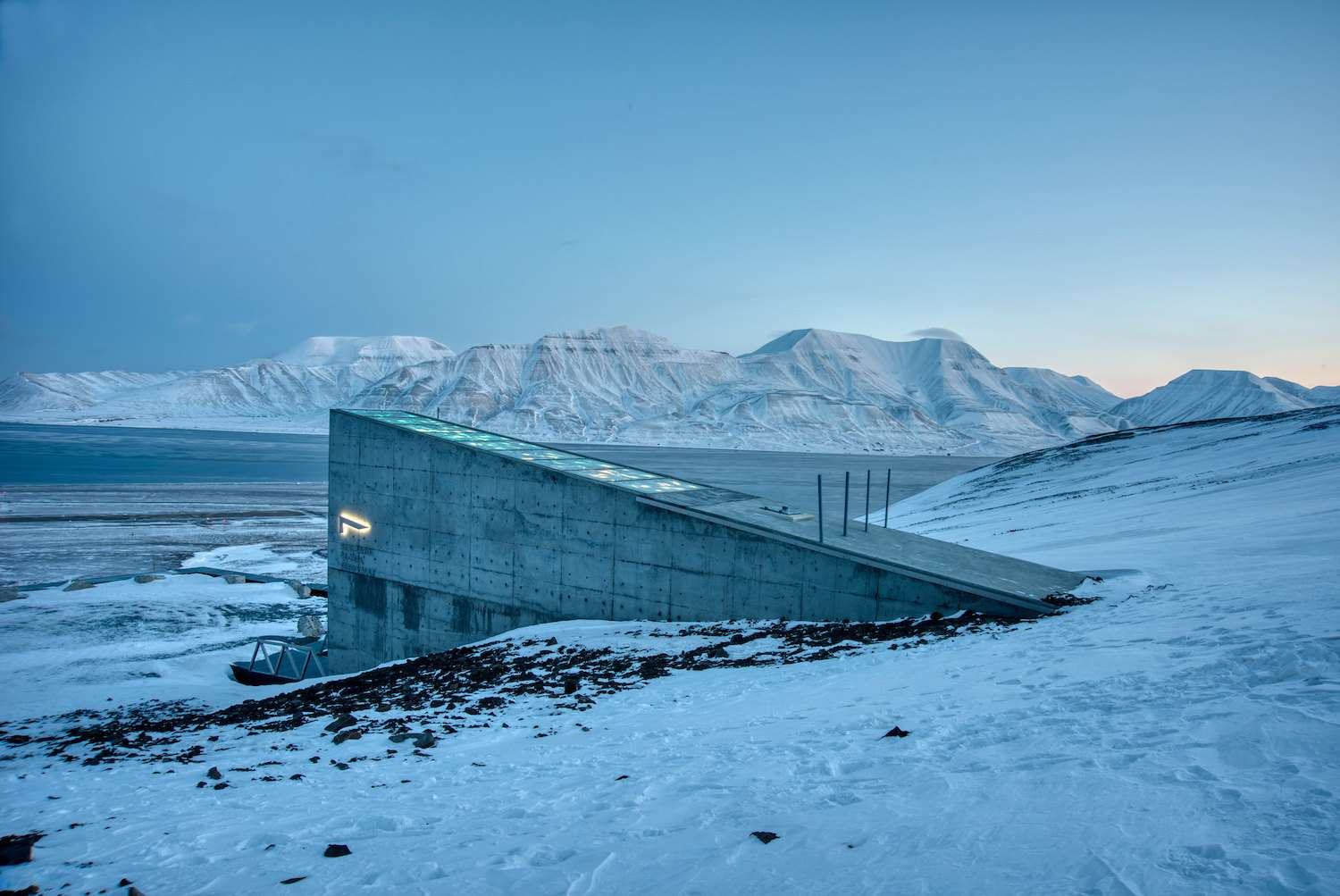 The entrance to the Svalbard Global Seed Vault in the snow-covered landscape of Norway