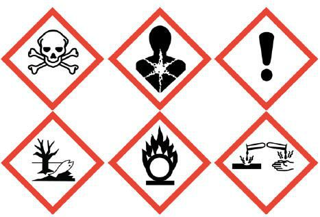 Symbols (pictograms) used to indicate chemical classifications according to the United Nations' Globally Harmonized System of Classification and Labelling image