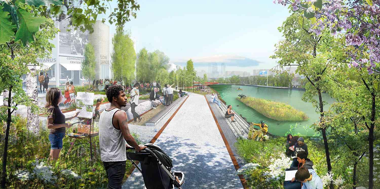 A rendering of Gowanus Lowlands, Brooklyn