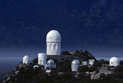 Kitt Peak Observatory under a starry night