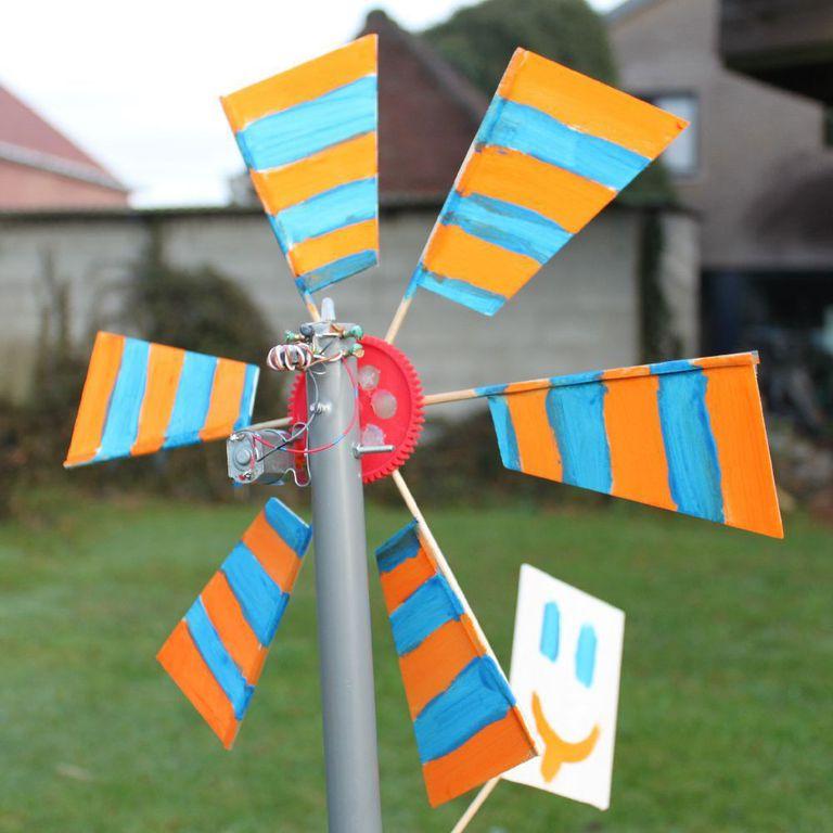 A colorful DIY wind turbine