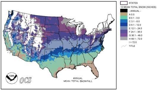 u.s. snowfall averages