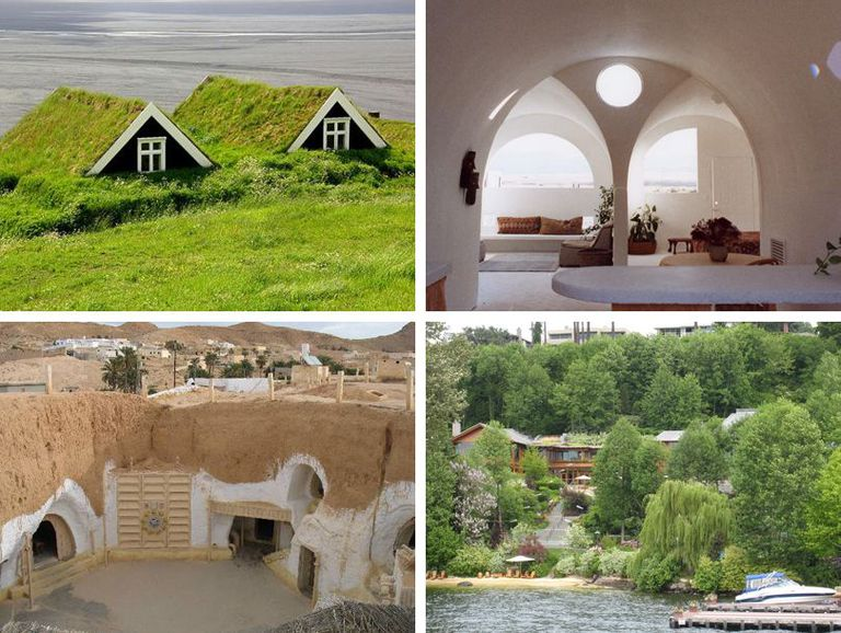 Four different hobbit-like houses
