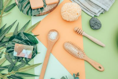 Flat lay of natural beauty products and tools