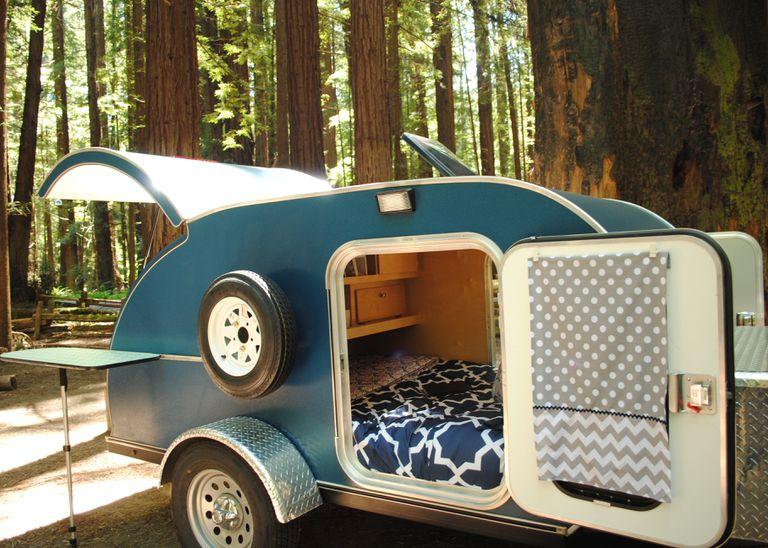 A small blue camper van.
