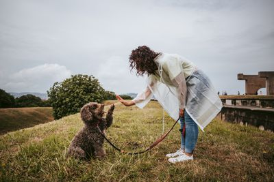 Woman With a Poodle Standing On Grass Against Sky