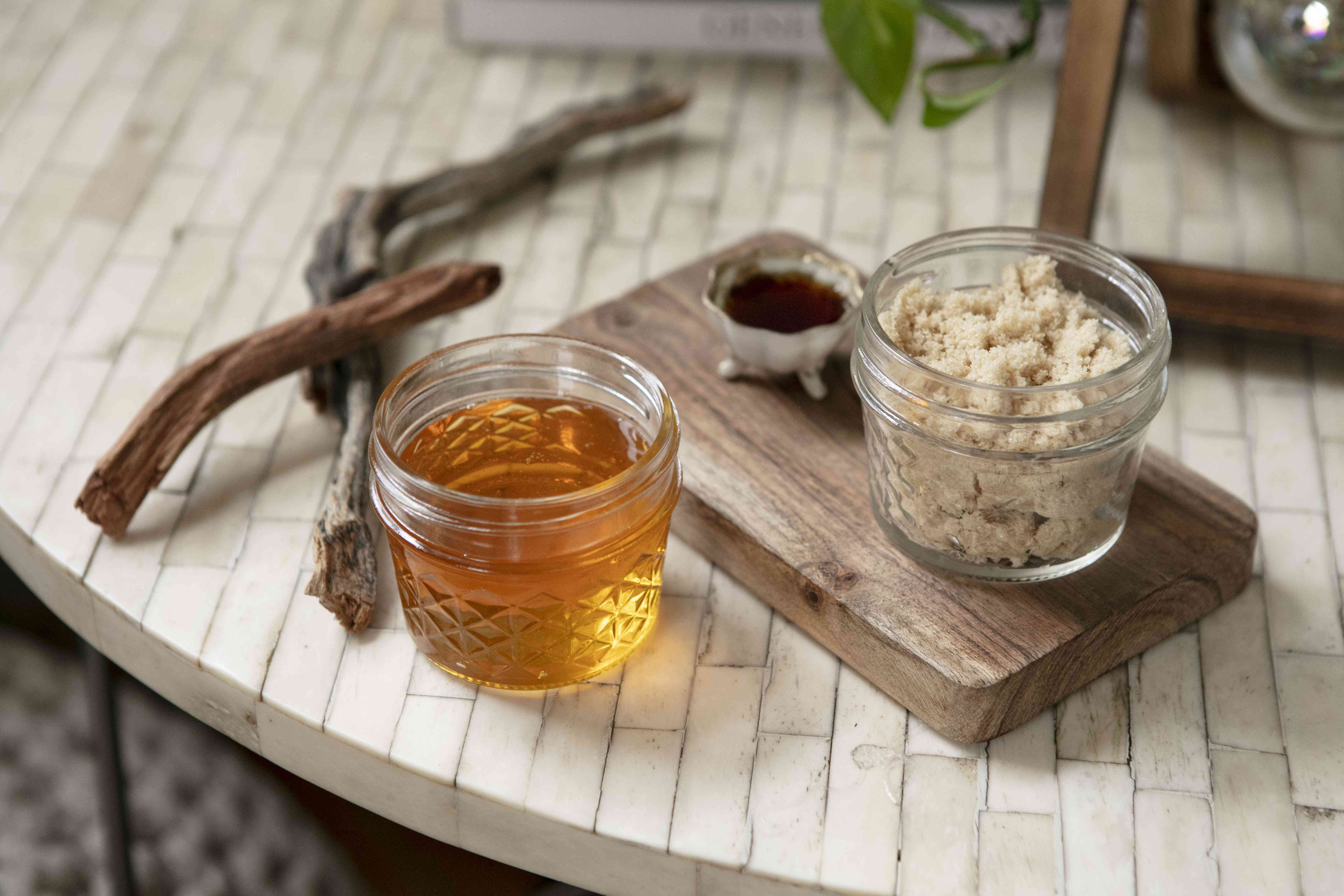 brown sugar and honey in upcycled jelly jars for diy lip scrub