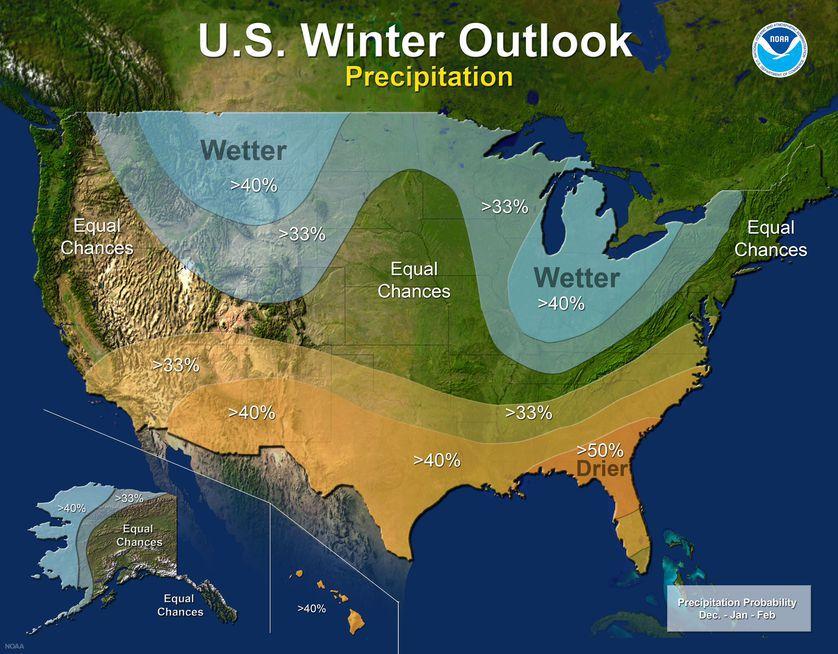 2017-18 Winter Outlook map for precipitation (NOAA)