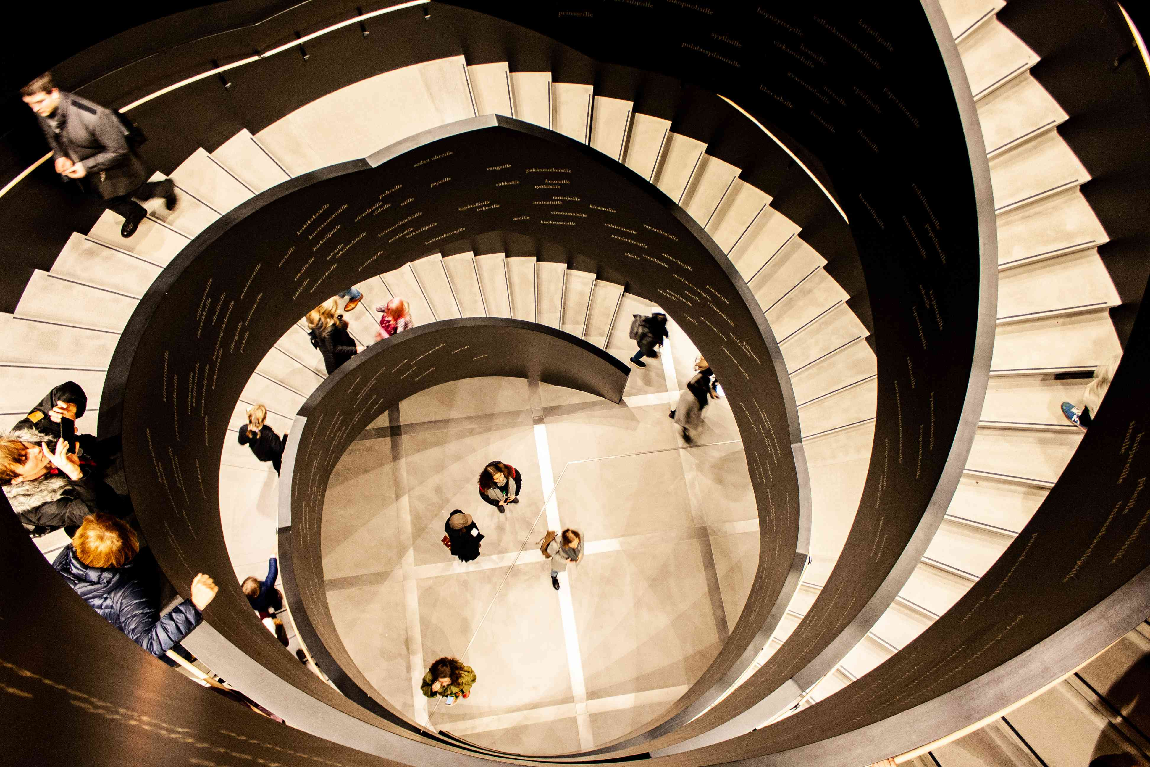 spiral staircase at Oodi, Helsinki, Finland