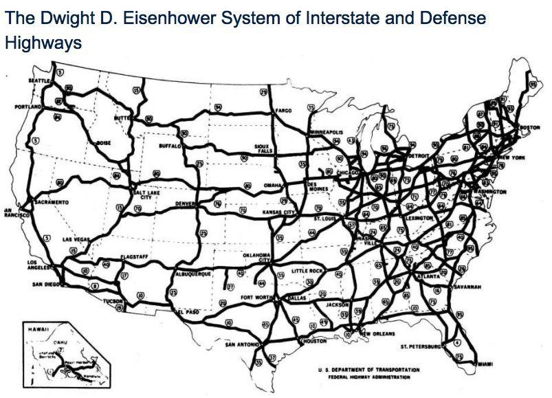 Map of interstate highways