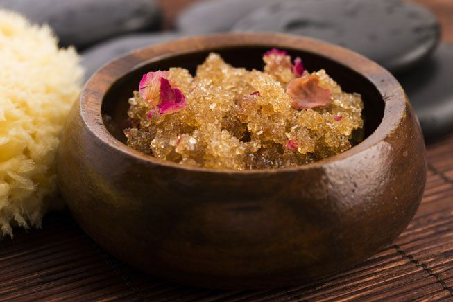 Sugar scrub with olive oil and rose petals