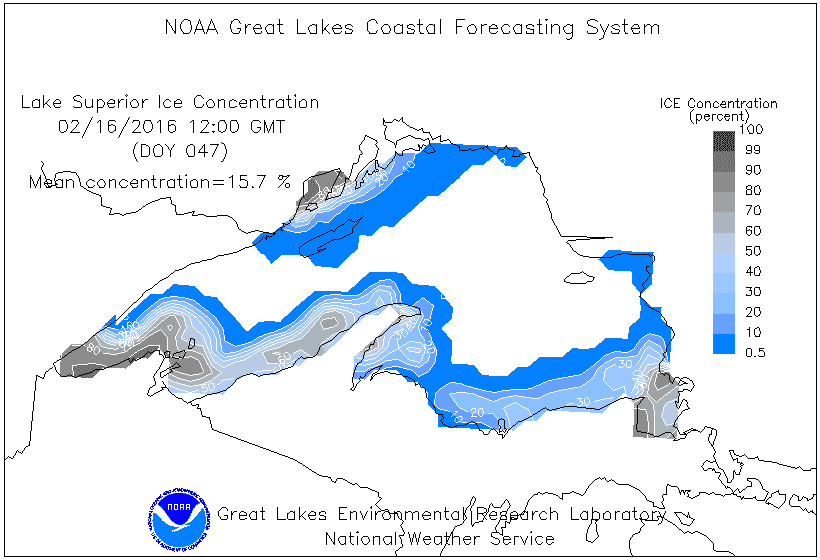 Lake Superior ice concentration on Feb. 16, 2016
