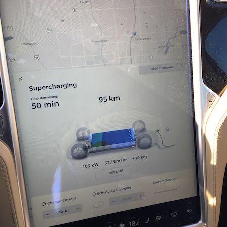 Tesla charging screen