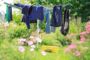 Clothes Drying On Rotary Washing Line
