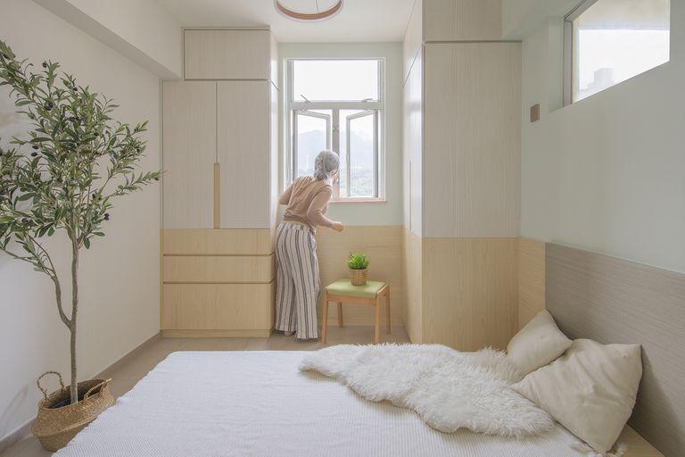 Floral Aged House apartment renovation by Sim-Plex Design Studio master bedroom