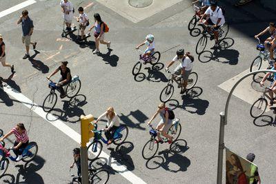 cyclists on Park Avenue, NYC