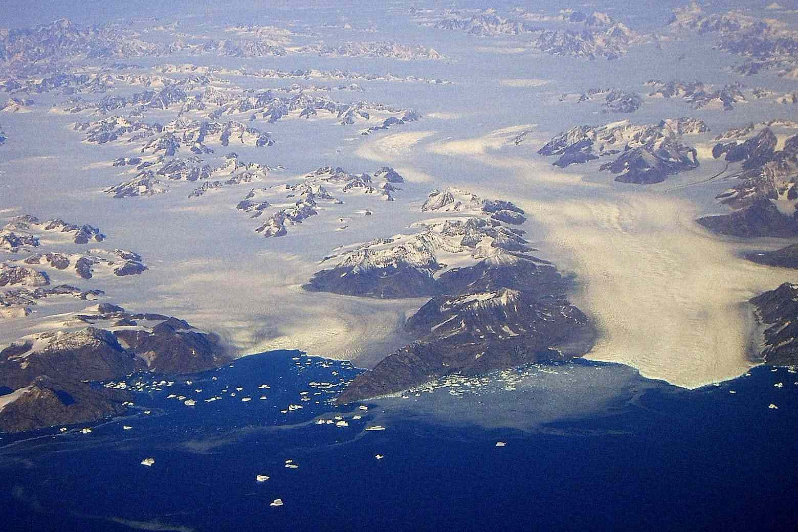 Aerial view of Steenstrup Glacier with icebergs around it
