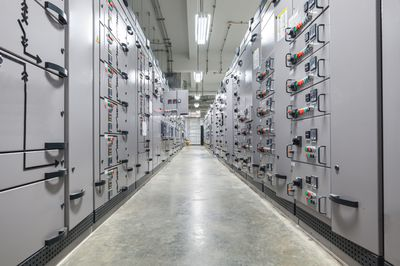 Room full of electrical switchboards